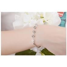 LUKENI Trendy Clear Crystal Cube Female Bracelets Jewelry Top Quality 925 Sterling Silver Anklets Women Party Bijou