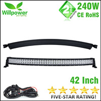 High Quality Free Shipping 240w Combo Waterproof IP67 Car Trucks Offroad Curved Led Light Bar 4x4