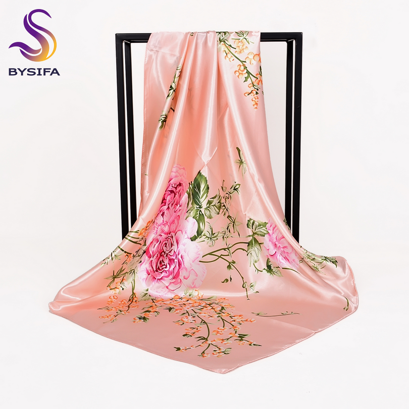 [BYSIFA] Chinese Roses Pink Silk   Scarf   Shawl Women 2018 New Design Brand Elegant Large Square   Scarves     Wraps   Muslim Head   Scarf