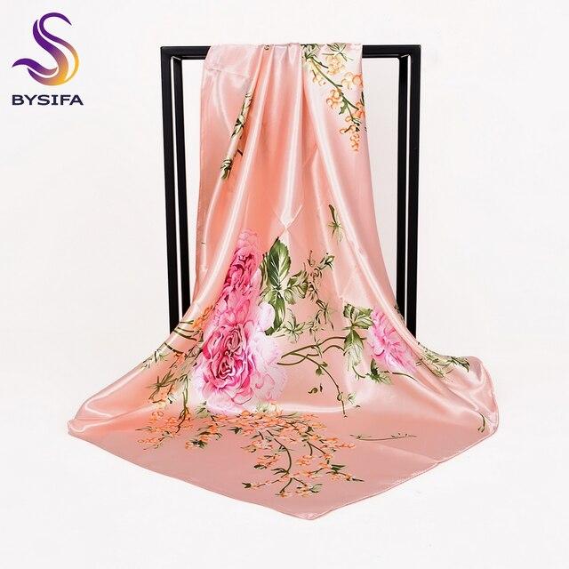 ac7fcd1f9e5e  BYSIFA  chinois Roses Rose Foulard De Soie Châle Femmes 2018 Nouveau  Design Marque Élégant