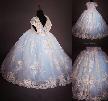 New Little Girls Birthday Dress Crystals Beaded Lace V Neck Ball Gown Kids Pageant Gown Wedding Party Dress Custom Made Size