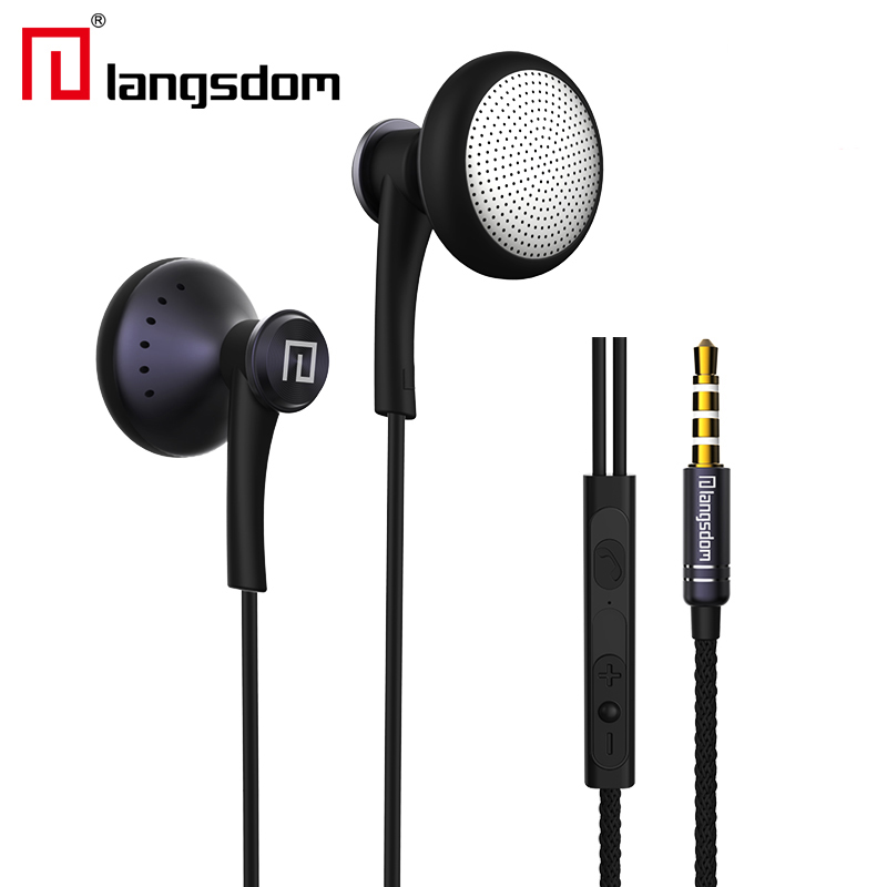 Original Langsdom T16 3.5mm In-ear earphone Super Bass Earphone With Mic Flat Wire Stereo earphone for mobile phone MP3 MP4 PC цена и фото