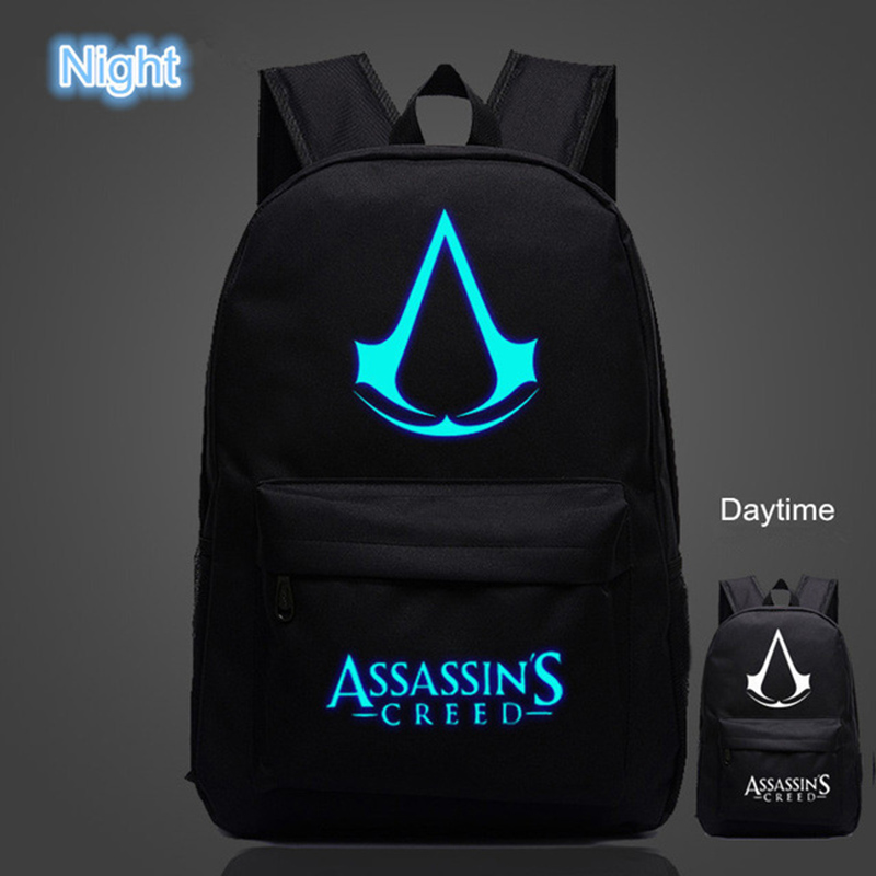OZUKO Famous Brand High Quality Lumious Assassins Creed Backpack Hot Game Boy Girl School Bags For Teenagers Oxford Backpacks assassins creed cosplay backpack men school bags official assassins creed syndicate logo school backpacks bag rucksack