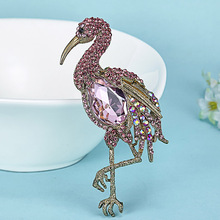 Zlxgirl Big Birds Brooch for Women Anniversary Jewelry metal rhinestone brooches Antique Gold Hijab Accessories Women Brooches