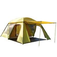 Новый складной путешествия Стиль высокое качество 3-4person двойной слоя три сезон непромокаемые Открытый Пешие прогулки Кемпинг семейная палатка
