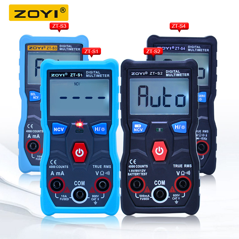 ZOYI ZT-S1/ZT-S2/ZT-S3/ZT-S4 4000 counts Auto Range True RMS LCD Digital Multimeter With NCV DATA HOLD and LCD backlight+EVA boxZOYI ZT-S1/ZT-S2/ZT-S3/ZT-S4 4000 counts Auto Range True RMS LCD Digital Multimeter With NCV DATA HOLD and LCD backlight+EVA box