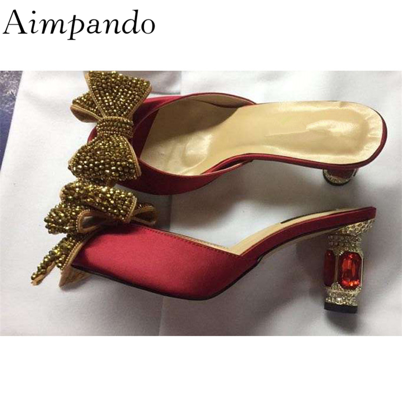 Gold Crystal Butterfly-knot Slippers Women Red Diamond Jewelled High Heel Peep Toe Rhinestone Satin Slides For LadyGold Crystal Butterfly-knot Slippers Women Red Diamond Jewelled High Heel Peep Toe Rhinestone Satin Slides For Lady