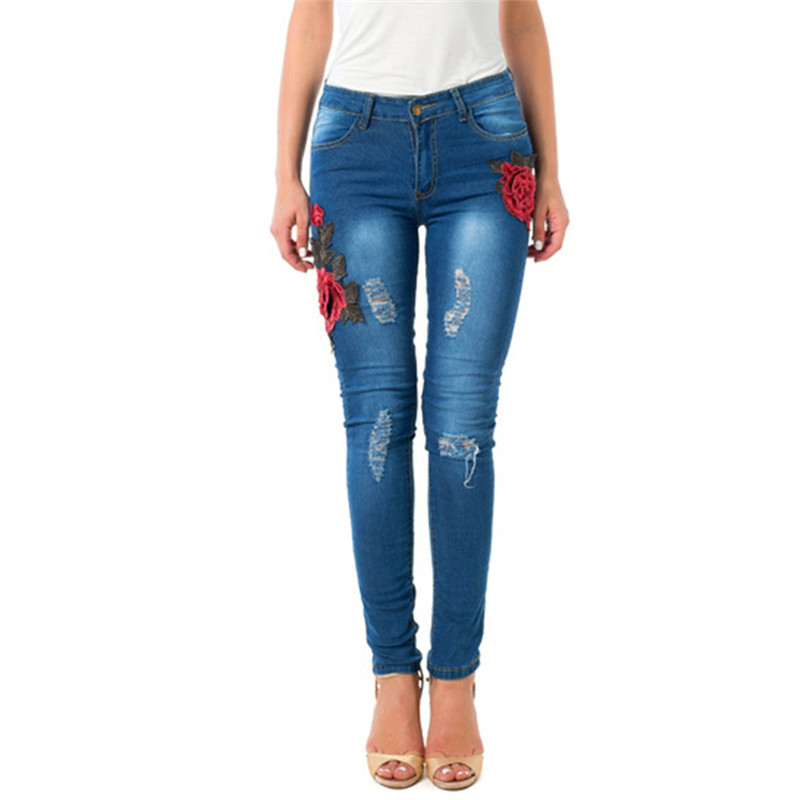 Fashion trousers for women embroidered jeans hole
