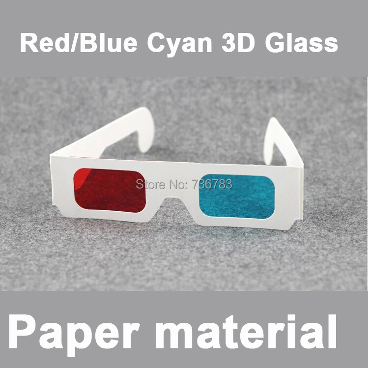 500pcs <font><b>per</b></font> <font><b>lot</b></font> <font><b>Red</b></font> <font><b>Blue</b></font> <font><b>Cyan</b></font> Paper Kids Children 3D <font><b>Dimensional</b></font> Glasses for DVD Movie Home Theater Game Mini LCD LED Projector