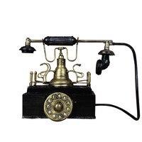 Retro Home Ornaments Vintage Western Black Rotary Handset Desk Phone Model Children Toys Resin Telephone Craft Decor Gift