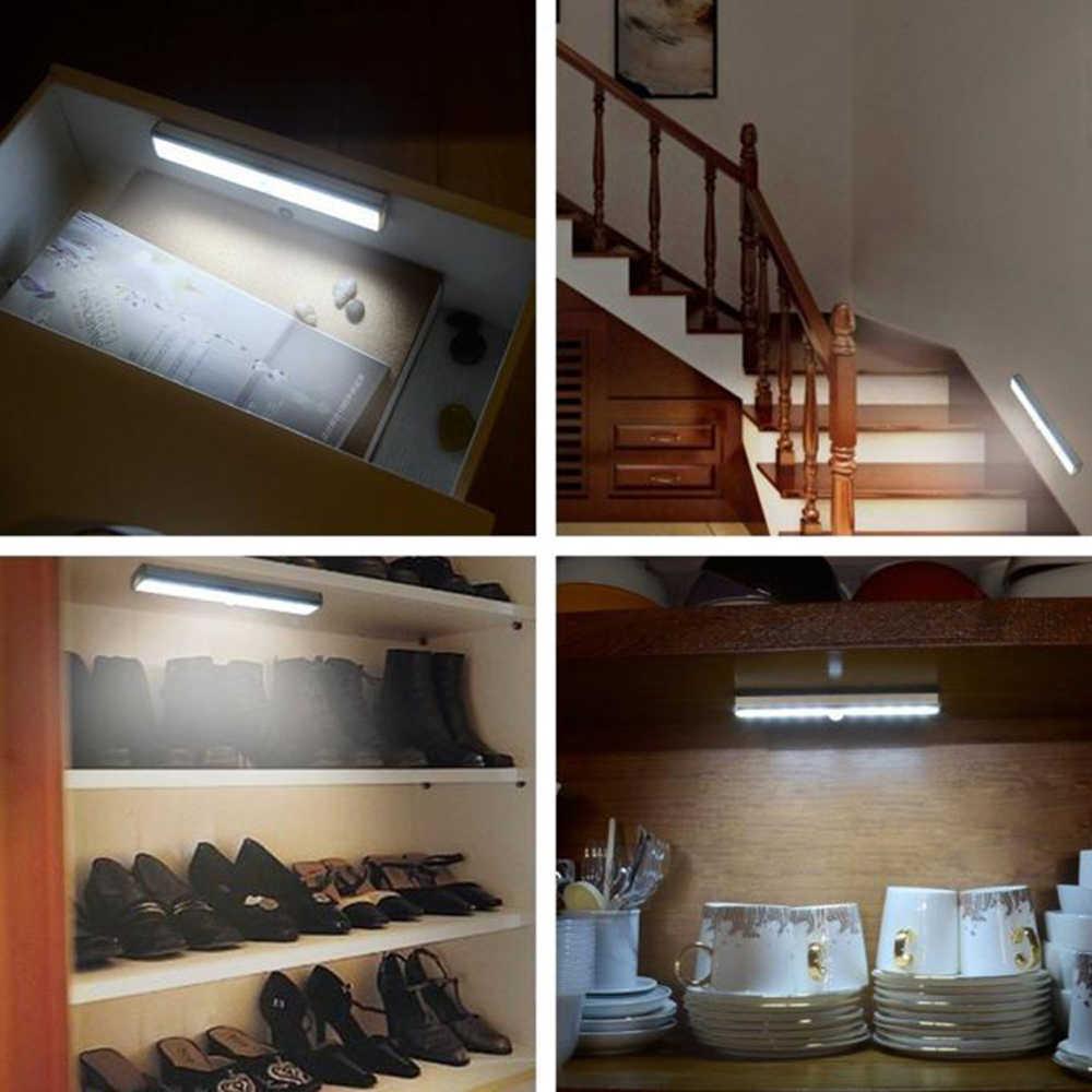 Czujnik ruchu PIR 10 LED, noc, lekki dioda z zasilaniem akumulatorowym taśmy Bar lampy ścienne oświetlenie sypialni pod lampa wystawowa oświetlenie