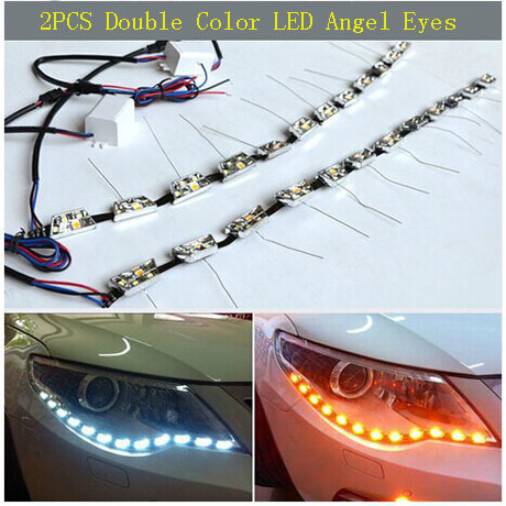 LED Headlight Strip Daytime Running Light With Turn Signal Car Angel Eye With IC DRL Head Lamp Switchback Tube Style Decorative 6pcs 60cm flexible tear strip switchback daytime running light drl with turn signal light 7 dual color fd 4767