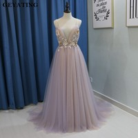 Sexy V Neck Long Flora Evening Dress 2018 Spaghetti Straps Backless Court Train Flower Blush Pink Special Occasion Prom Dresses