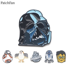Patchfan  Darth Vader Robot R2D2 BB-8 Zinc tie Pins backpack clothes brooches for men women hat decoration badges A1262 все цены