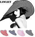 Womens Summer Hats Large Wide Brim Floppy Sun Hat Female Stripe Band Floppy Kentucky Derby Hat Fashion Beach Hats for WomenA266