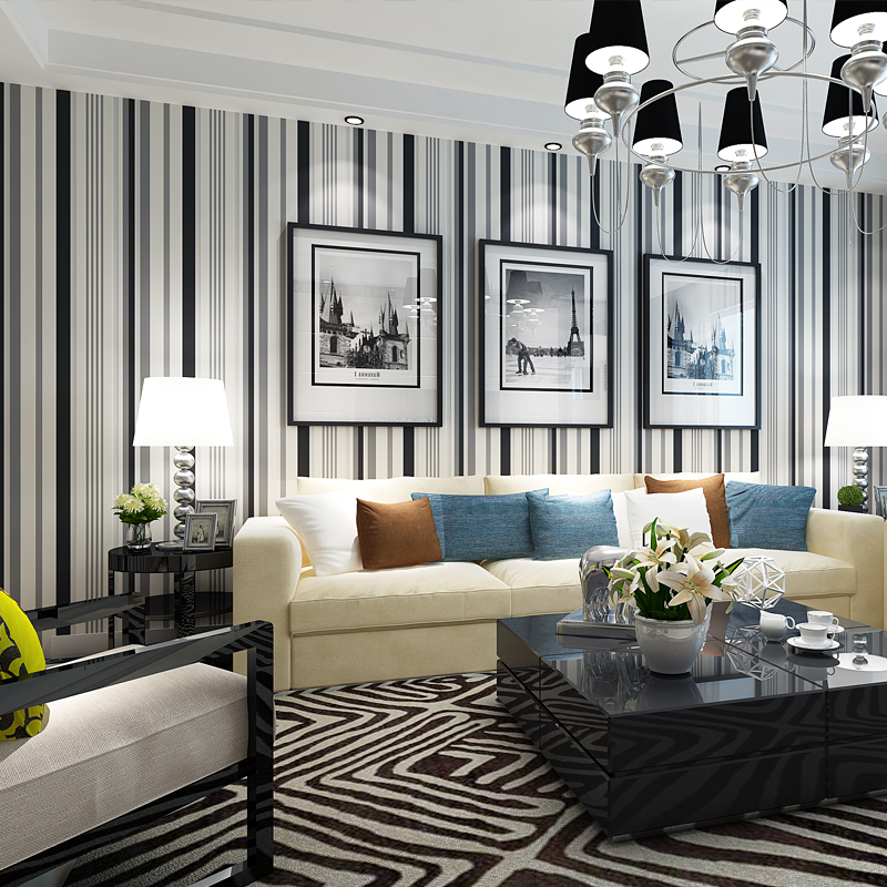Modern fashion black and white gray striped pastoral non-woven wallpaper bedroom living room office warm romantic wall papers free shipping hepburn classic black and white photographs women s clothing store cafe background mural non woven wallpaper