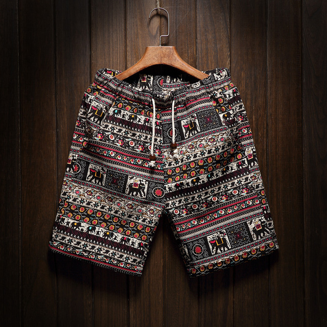Male Large Size M-8XL Summer New Mens Fashion Boutique Linen Cotton Printing Casual Beach Shorts Ethnic Style Men Leisure Shorts