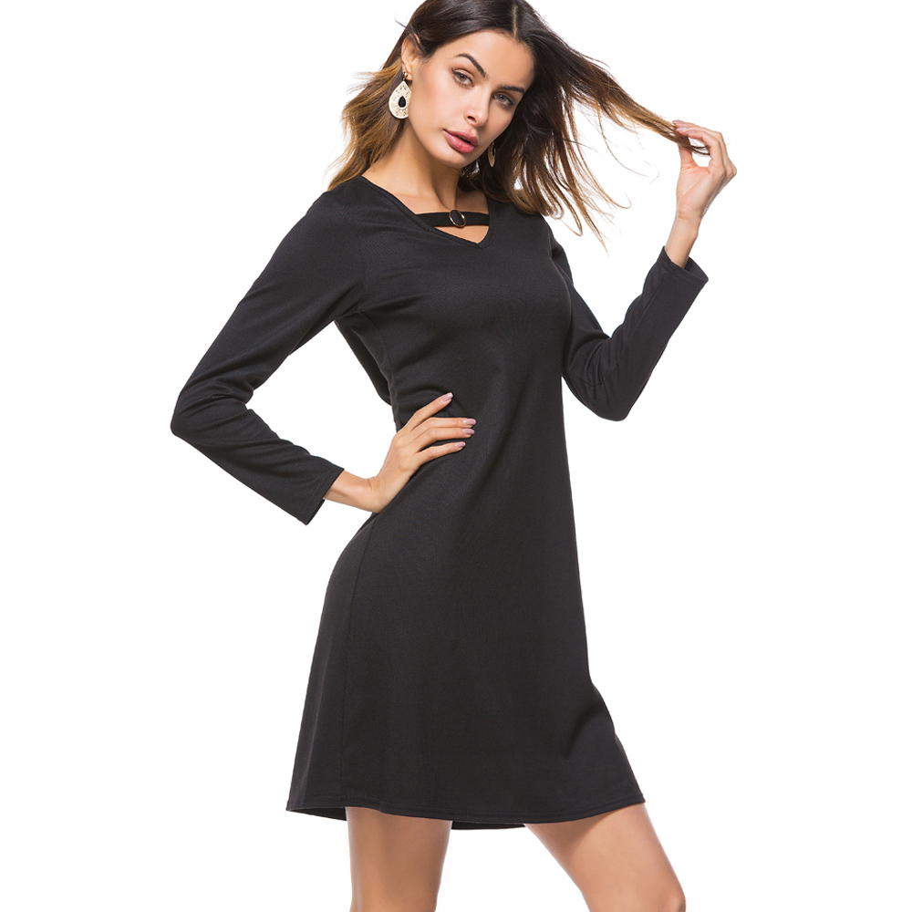 Nice-forever Causal V Neck with Ring Stripe Ladies vestidos Full Sleeve Business Women Straight Shift Loose Dress btyt024