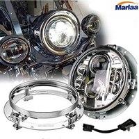 7 H4 LED Motorcycle Hi/Lo Beam Headlight + Chrome Mounting Bracket Ring Set For Harley Davidson Touring