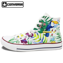 Men Women High Top Converse All Star Nature Forest Selva Birds Original Design Hand Painted Shoes Unisex Sneakers Birthday Gifts