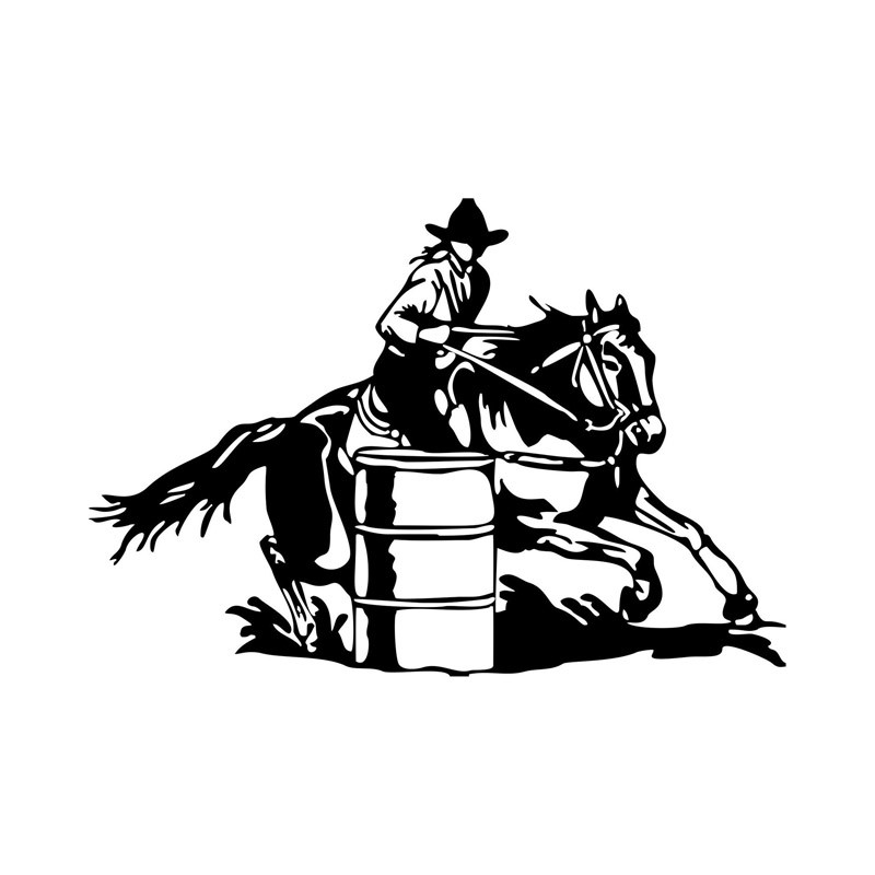 17*11.6CM Funny Cowboy Barrel Racing Car Sticker Over Obstacles Vinyl Decals Personalized Car Styling C7-0573