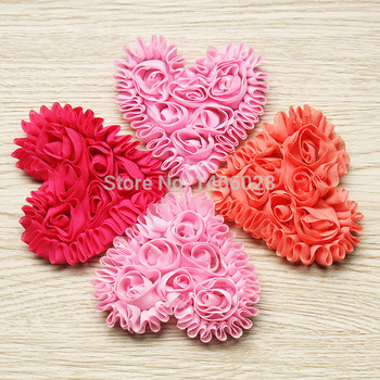 360 pcs/lot , 3'' newborn chiffon heart  , shabby flowers  heart