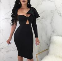 Sexy Silver Maxi Party Dress 2018 Summer Women's Europe and America Dress Shoulder Dress