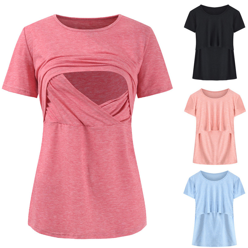 Maternity Clothes Breastfeeding Clothes Summer Maternity Nursing Solid Short Sleeves Double Layer Top Blouse T-Shirt JE25#F недорго, оригинальная цена