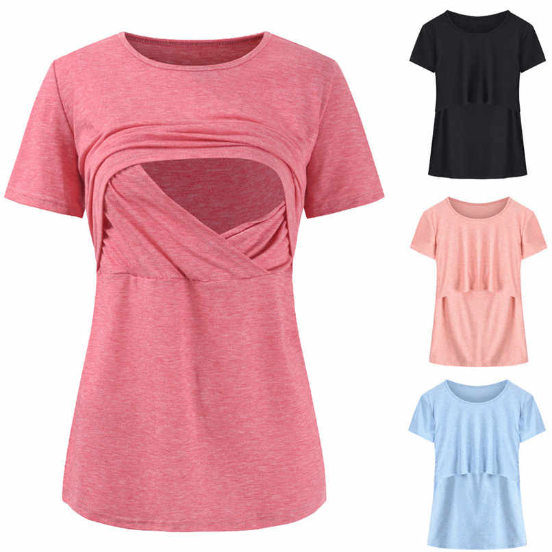 fef90f128 Maternity Clothes Breastfeeding Clothes Summer Maternity Nursing Solid  Short Sleeves Double Layer Top Blouse T-