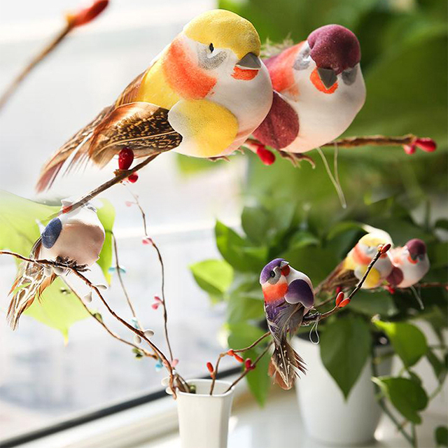 Mini Fake Birds Artificial Feather Foam Doves Wedding Decoration Venue Ornament Bird Model Home Garden Ornament DIY Party Use 4