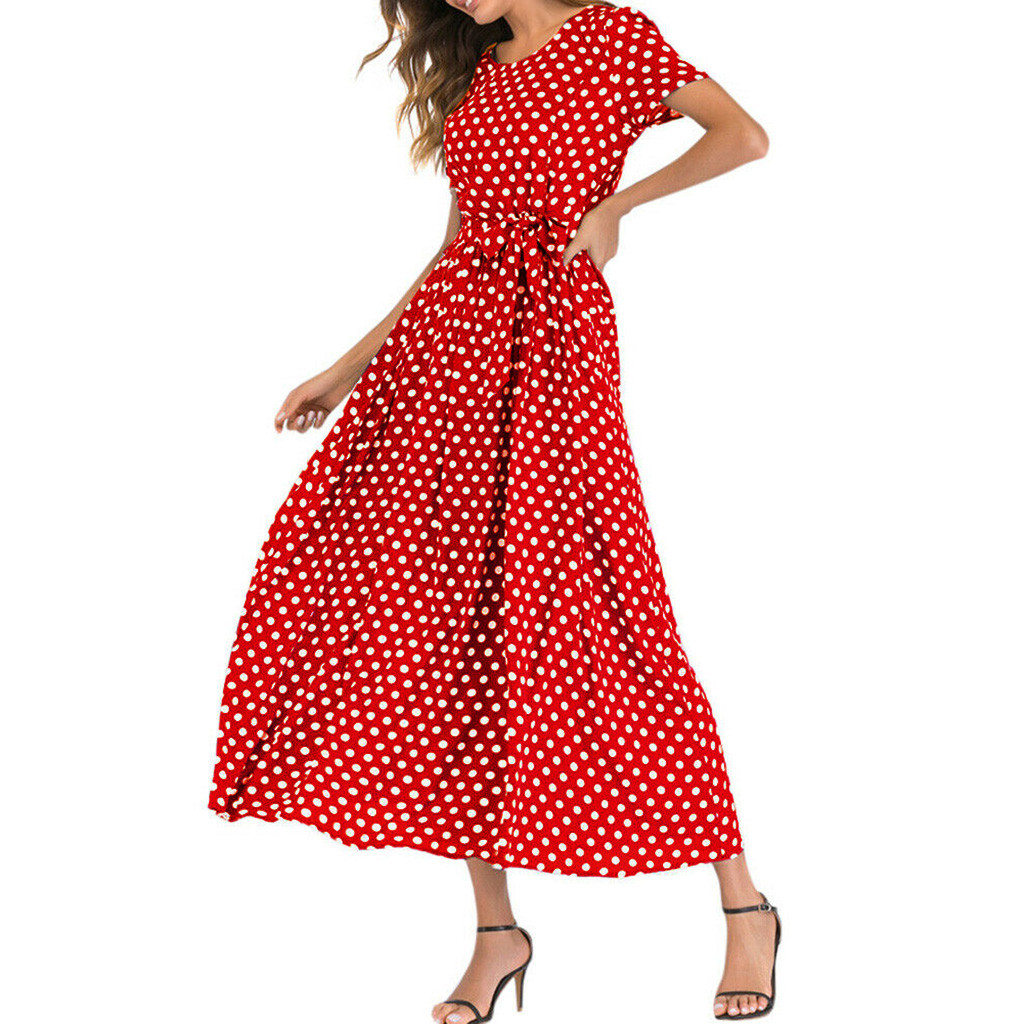 HTB1faGTawKG3KVjSZFLq6yMvXXaH - Summer Dress Women O-Neck Short Sleeve Boho Polka Dot Bandage Maxi Long Dress Women Beach Sundress Plus Size Vestidos