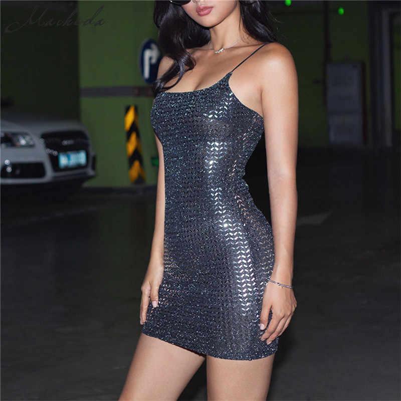 Macheda Seksi Siyah Bling Bling Pullu kadın elbise Spagetti Kayışı kolsuz moda Ince Parti Elbiseler Rahat 2019 Vestidos