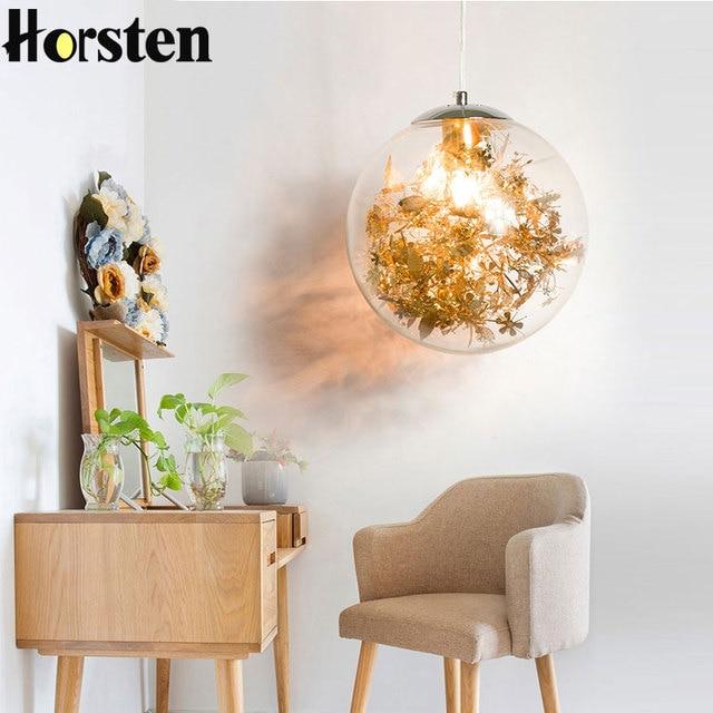 Nordic Glass Ball Flower Pendant Light LED E27 with 4 Colors DIY Modern Hanging Lamp for Living Room Bedroom Kitchen Restaurant