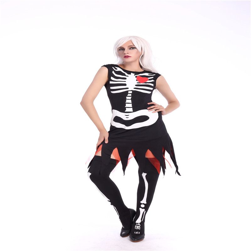2017 New arrive Black adult skull printed tassel dress skeleton heart sexy halloweeen costume for women M40255