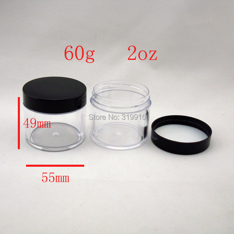 60g round empty transparent cosmetic plastic jar container bottles 2oz mask cosmetic packaging DIY containers 60ml