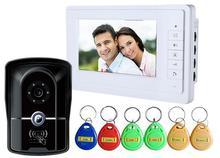 """Freeship 7 """"TFT RFID Sistema de video Casero de Intercomunicación IR Cámara video de la puerta teléfono de dos vías de intercomunicación Edificio Apartamento Exterior estación"""