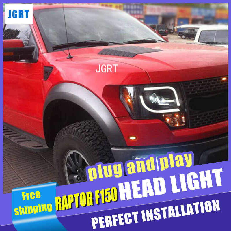 Car Styling Headlight assembly 2011 for FORD RAPTOR F150 DoubleU Angel Eye LED DRL Lens Double Beam H7 hid kit with 2pcs. hireno headlamp for 2003 2009 toyota land cruiser prado headlight assembly led drl angel lens double beam hid xenon 2pcs