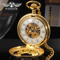 Winner 2014 Latest WRG8018M5G1 Mechanical Pocket Watch Gold Color Brass Cowboy Chain Best Gift Shipping Free