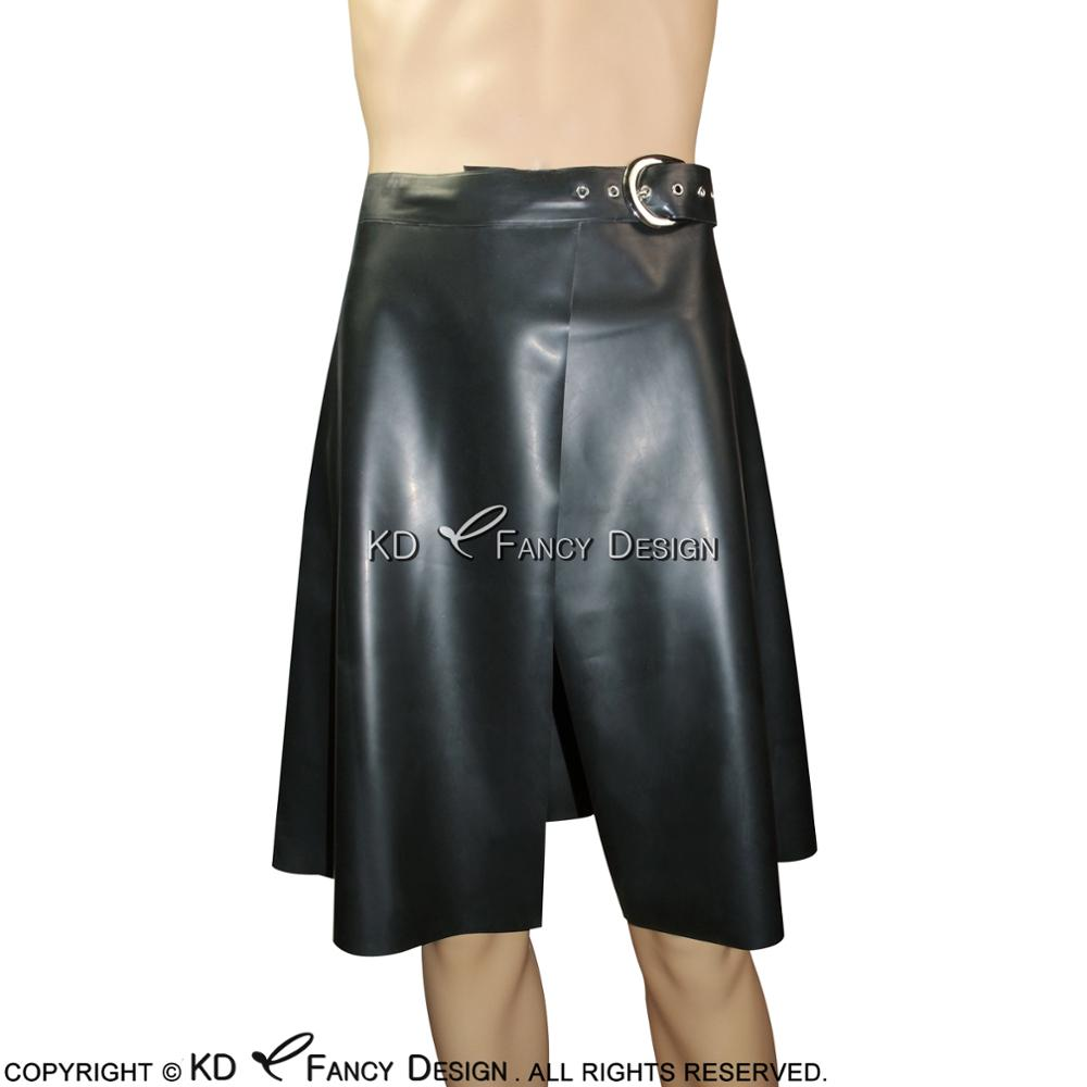 Black Sexy Latex Kilt Skirts With Belts Short Rubber Skirt Bottoms Uniform DQ-0008