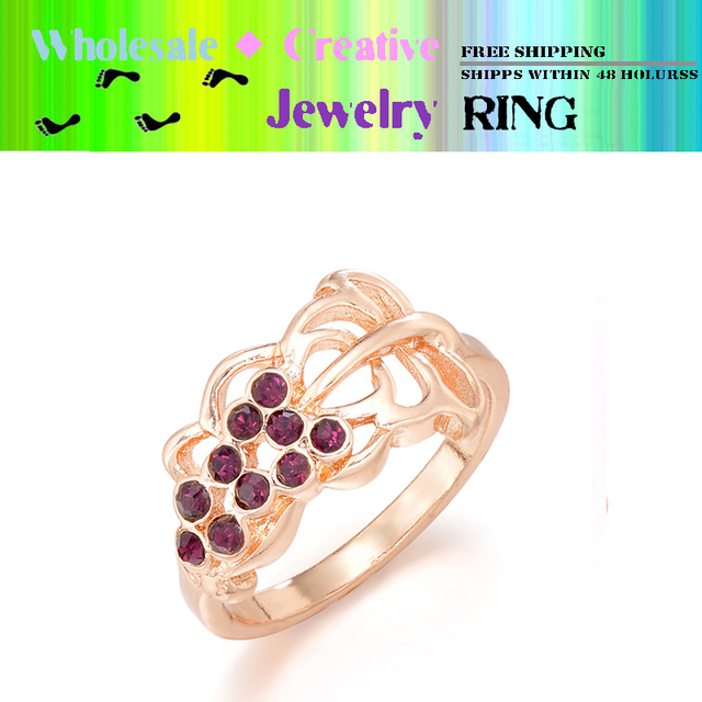 Wholesale - Fashion 12 pcs/lot free shipping grape gold plated ring jewelry inlay beautiful purple stones
