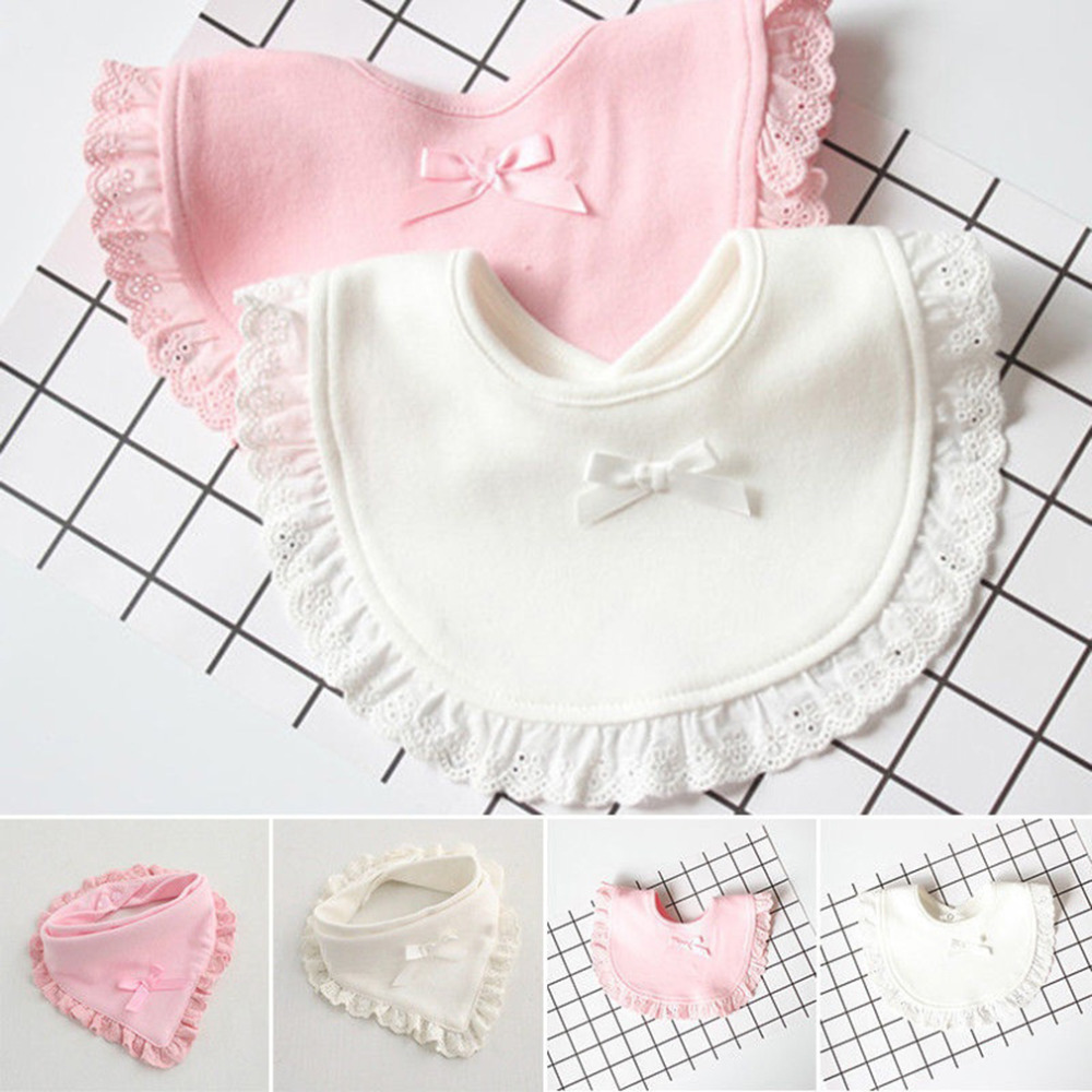Baby Bibs Burp 100% Cotton Lace Bow Pink and White Bib Baby Girls Lovely Cute Bib Infant Saliva Towels