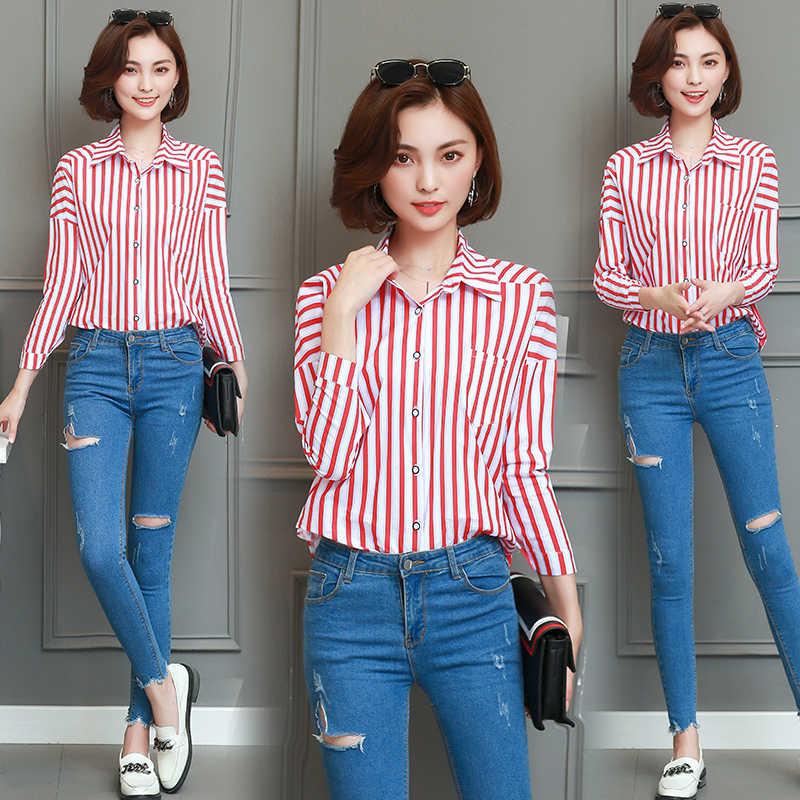 fashion styles pretty cheap innovative design Korean Blouse For Ladies Shirt Women Red White Striped Top Female ...