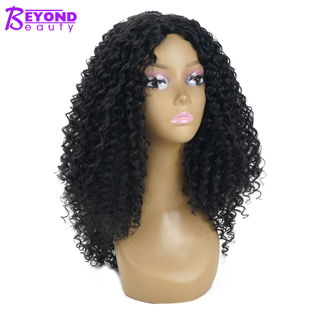 Long Afro Kinky Curly Synthetic Wigs For Women Black Natural Color
