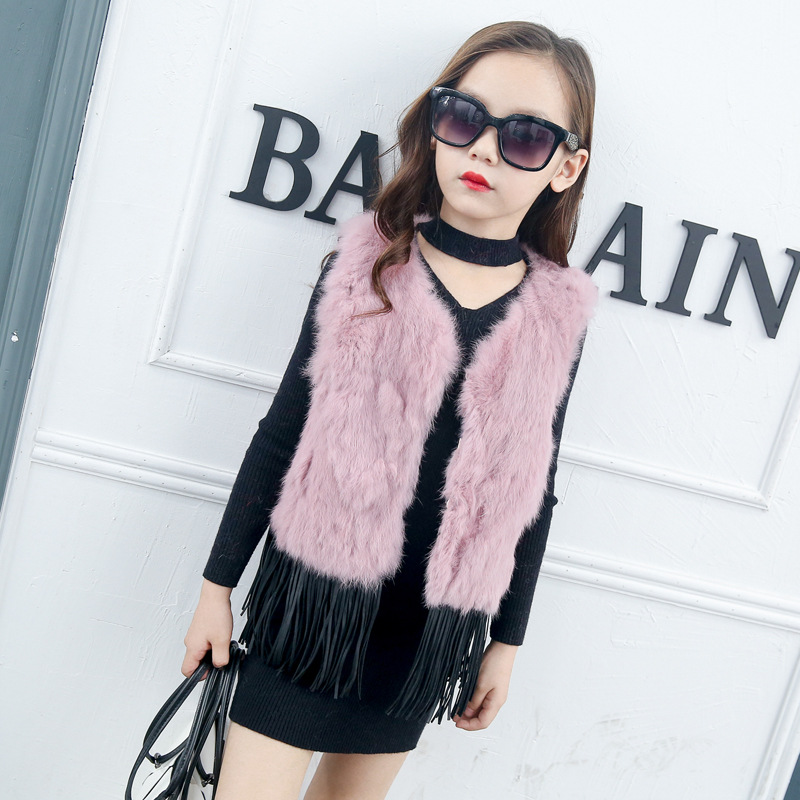 JKP 2018 Girls plush fur vest Rex rabbit fur new children girls coat children Korean version Outerwear kids fashion vest ZPC-127 2018 autumn and winter new children s fur throwing cap vest stitching vest coat vest cotton suit parent child waistcoat zpc 215