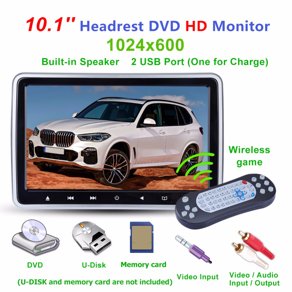 10 1 Inch LCD Screen Car Headrest DVD Monitor TV Monitor Player USB FM Speaker Auto
