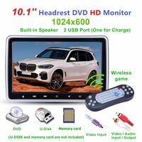 10.1 Inch LCD Screen Car Headrest DVD Monitor TV Monitor Player USB FM Speaker Auto DVD Video Player 1024x600 Screen Radio