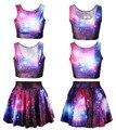 Echoine Hot sale novelty summer sexy galaxy 3D digital space print sleeveless crop top and skirts 2 piece set women