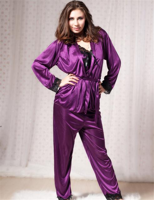 LS8247 Profundo púrpura de satén largo camisón de tres piezas conjunto de las mujeres la ropa interior de manga larga y pantalones largos mujeres sexy comfort pijamas