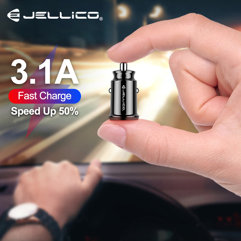 Jellico Mini USB Car Charger For Mobile Phone Tablet GPS 3.1A Fast Charger Car-Charger Dual USB Car Phone Charger Adapter In Car