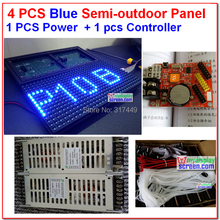 4pcs blue color led display module + 1 pcs slimp power unit usb controller,10mm kits,blue pane diy